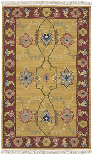 Surya Nomadic Kilim NMD-703 Flatweave Hand Woven 100% New Zealand Wool Mustard 2' x 3' Southwest Accent Rug