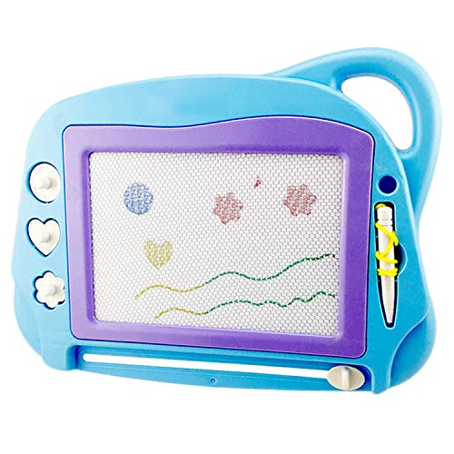 Mini Travel Magnetic Drawing Board, Erasable Sketch Pad Doodle Colorful Scribble Writing Area Educational Learning Toy for Kids / Toddlers with 3 Stamps and 1 Pen (SkyBlue)