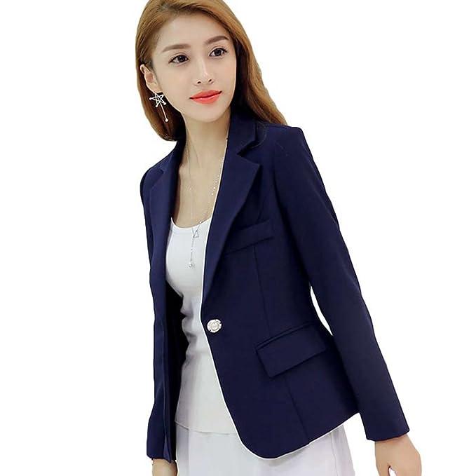YiLianDa Mujer Oficina Trabajo Ajustada Elegant Blazers OL Casual Cardigans Chaqueta