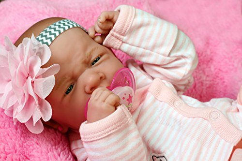 "Reborn Baby Girl Preemie with Beautiful Accessories Anatomically Correct Washable Berenguer 14"" inches Real Realistic Soft Vinyl Alive Lifelike Pacifier Doll Super Combo Price"