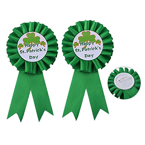 St. Patrick's Ribbon Badge Brooch Pin Prize Award Tinplate Badge Decoration JHSP11 (2 Pcs)