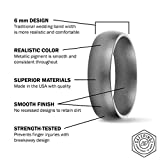 SafeRingz Metallic Silicone Wedding Ring, 6mm, Made in The USA, Men or Women, Platinum 13