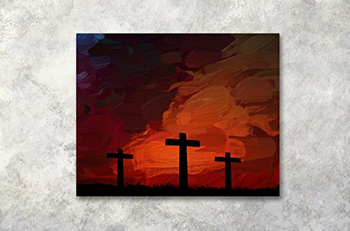 (LB Christ Canvas Wall Art for Living Room Framed Christian Crosses Oil Painting Canvas Prints Wall Decor Religious Home Wall Decorations for Bedroom Bathroom,20x16)