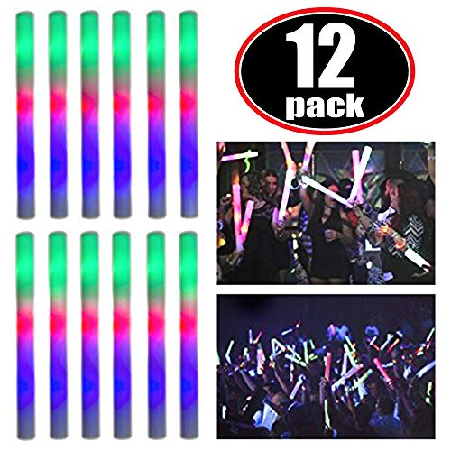 Super Z Outlet Upgraded Light up Foam Sticks, 3 Modes Colorful Flashing LED Strobe Stick for Party, Concert and Event (12 Pack) ()
