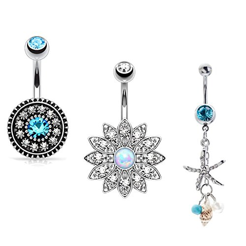 Udobuy New Summer Sandbeach Style Belly Ring 316L Surgical Steel Blue Crystal Starfish Conch Shell Long Dangle Navel Belly Ring Body Piercing Reverse Sexy Navel Rings (3 Pcs Set)
