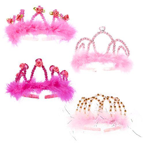 Princess Dress Up - 4 Pack Crown Tiara Headbands Princess Tiara with Rhinestones and Fur Birthday Party Supplies for Kids and Adults in Pink Colors