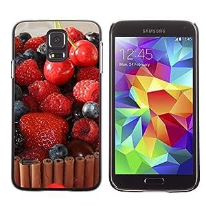 Paccase / SLIM PC / Aliminium Casa Carcasa Funda Case Cover - Fruit Macro Raspberry Cherry Cake - Samsung Galaxy S5 SM-G900