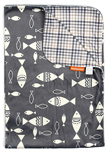 (Dear Baby Gear Deluxe Reversible Baby Blanket, Custom Minky Print, Fish on Grey/Grey Tan Plaid, 38 Inches by 29 Inches)