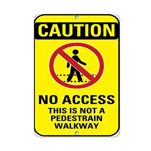 Kent Sparks Warning Tin Sign - No Access This is Not A Pedestrian Walkway 12 x 8 Aluminum Metal