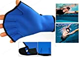 Harryshell(TM)Water Resistance Fins Hand Glove Training Fingerless Webbed Flippers Paddle Swim Gloves (Blue, Medium)