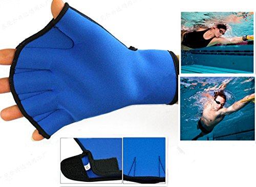 Harryshell(TM)Water Resistance Fins Hand Glove Training Fingerless Webbed Flippers Paddle Swim Gloves (Blue, Big)