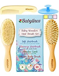4 Piece Baby Hair Brush Set with Baby Brush, Cradle Cap Brush or Scalp Brush, Natural Bristle Brush or Massage Brush and a Baby Comb, Perfect Gift Sets for Baby Shower or Gifts for New Moms BOBEBE Online Baby Store From New York to Miami and Los Angeles