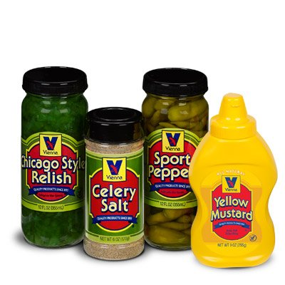 Vienna Chicago-Style Condiment Kit (1 Jar Yellow Mustard, 1 Jar Green Relish, 1 Jar Sport Peppers, 1 Jar Celery Salt) ()