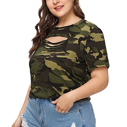 Mlide Womens Short Sleeve T-Shirt Plus Size Summer Camouflage Hollow Out Blouses Tops