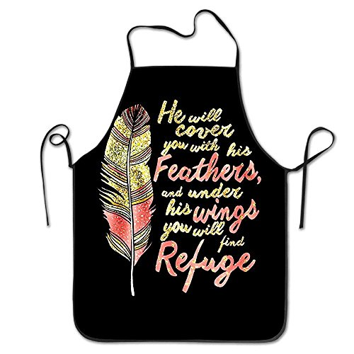 luckwelw 100% Polyester He Will Cover You with His Feathers,and Under His Wings You Will Find Refuge Adult Chef -