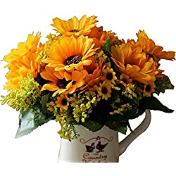 BEAFLO 1PC Artifical Flowers 7 Branches Sunflower Bouquet For Home Wedding Party Decorative Flower Floristry