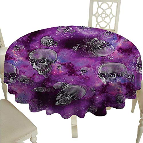 Skull Easy Care Tablecloth Horror Movie Thirller Themed Flying Skull Heads Halloween in Outer Space Image Runners,Gatsby Wedding,Glam Wedding Decor,Vintage Weddings D50 Black and Purple ()