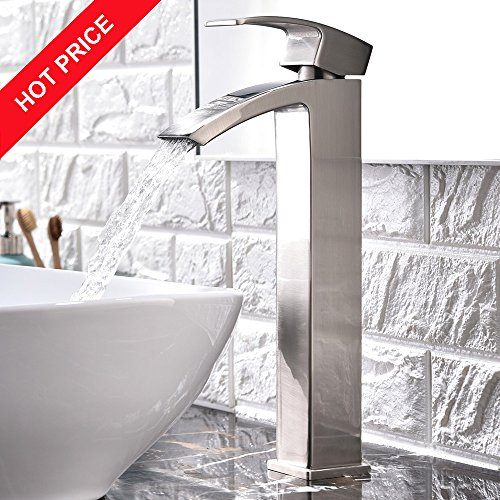 Modern Single Handle Brushed Nickel Waterfall Tall Vessel Sink Bathroom Faucet,With Extra Large Rectangular Spout