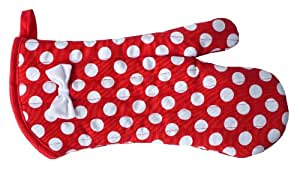 Jessie Steele Red and White Polka Dot Oven Mitt with Bow