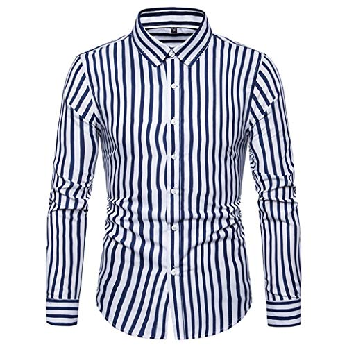 iHPH7 Dress Shirts Regular-Fit Stripe Long Sleeve Printed Shirts Slim Comfortable Shirt Men (3XL,6- Blue) -