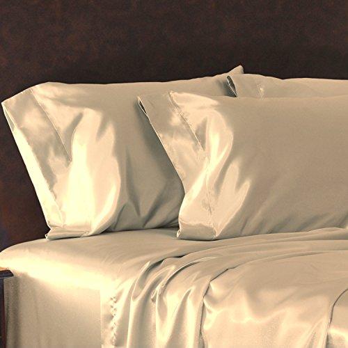Tan Satin Pillowcase with Open End, King Size