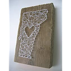 Vermont lovereclaimed wooden string art sign - A unique Mother's Day, Father's Day, Wedding, Anniversary,House Warming, Birthday,Valentine's Day and Christmas gift