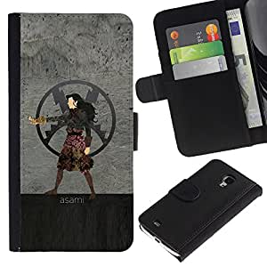 YiPhone /// Tirón de la caja Cartera de cuero con ranuras para tarjetas - Asami - Samsung Galaxy S4 Mini i9190