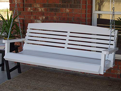 (THREE MAN Painted White American Porch Swing with Hanging Chain - 5)