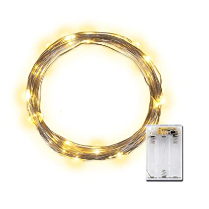 Lidore Micro Led 20 Warm White Lights With Timer Battery Operated On 787ft Long Silver Color Ultra Thin Copper Wire
