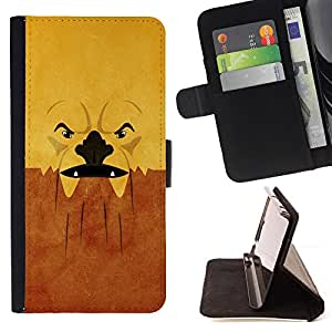 BullDog Case - FOR/Samsung Galaxy S6 EDGE / - / Grumpy Abstract Face /- Monedero de cuero de la PU Llevar cubierta de la caja con el ID Credit Card Slots Flip funda de cuer