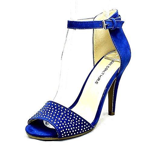avant clouté sangle hauts talons Bleu Suedette chaussures Bleu cheville à avec EqH68wS8
