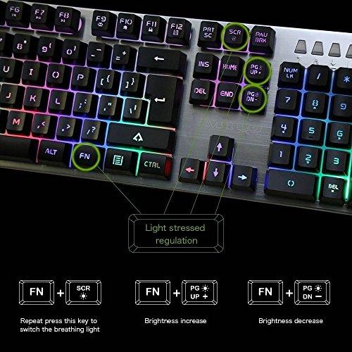 QcoQce T98-K2 Imitación Metal Teclado Mecánico USB Brillante Para Juego Profesional Oficina PC Programables y Desmontables Plata: Amazon.es: Electrónica