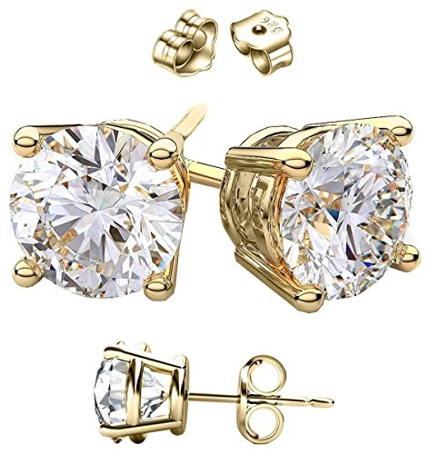 FANTOM JEWELRY 2.00 Carat Total Weight 14 Karat Gold Overlay on 925 Sterling Silver Earrings. 1.00 Carat Each ()