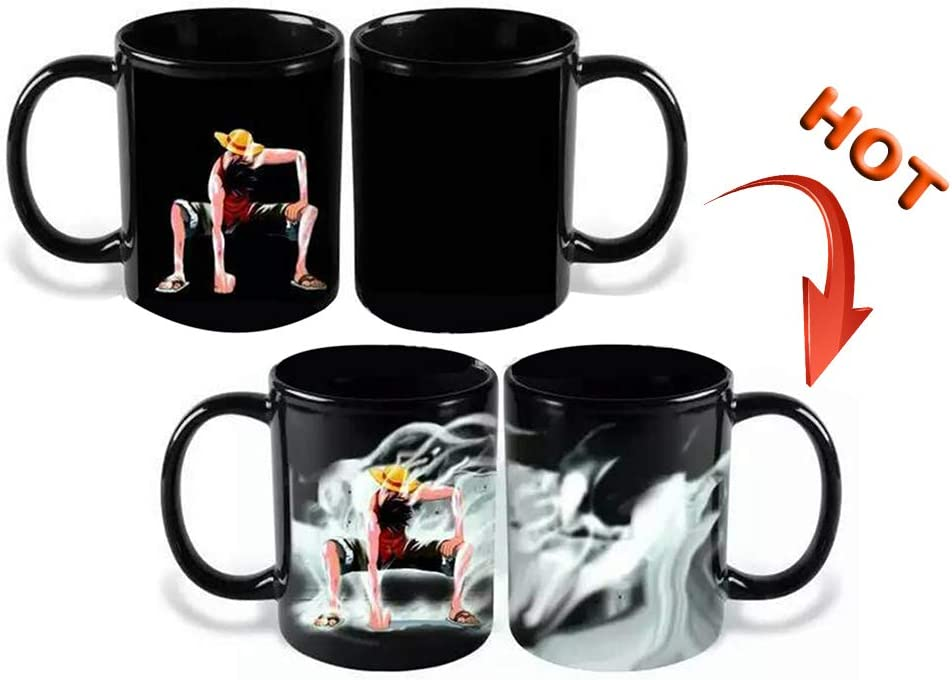 KroY PecoeD Anime japonés ONE PIECE Mug Cups, Cartoon Anime Characters Luffy Ceramic Coffee Tea Cup Heating Water Decoloration Mug Color Changing Cup Best Gift for Anime Fans: Amazon.es: Hogar