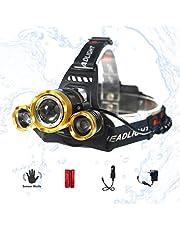 LED Headlamp, XM-L T6 High Lumen Waterproof 3 Led 4 Modes Sensor Control