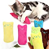 Yamalans 5Pcs Lovely Solid Color Catnip Cat Plush Toy Tooth 3D Animal Zoo Pet Plush Pillow Cute Stuffed Throw Pillow Bed Doll Kids Toy Gifts for Girl Boy Girlfriend