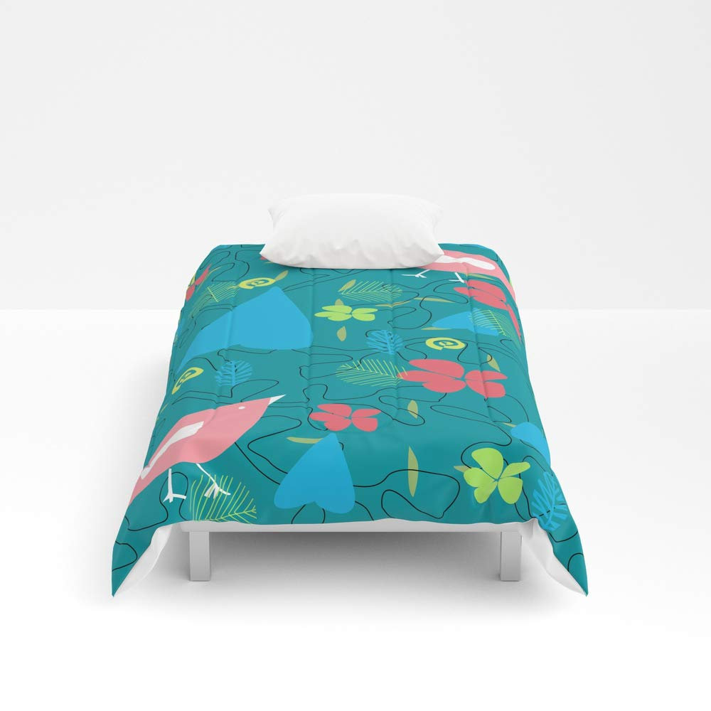 Society6 Comforter, Size Twin: 68'' x 88'', Pink Birds Walking in The Woods by zab