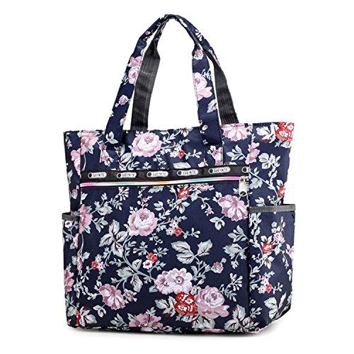 Women's Canvas Nylon Floral Multi Pocket Top Handle Tote Handbags Bag Shoulder Bag Shopping Bags