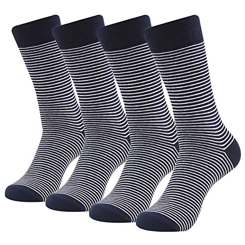 Business Suit Dress Socks, SUTTOS Men's Custom Elite Black White Fashion Striped Patterned Cotton Blend Mid Calf Long Tube Groom Groomsmen Wedding Casual Crew Dress Socks Men