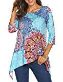 Sweetnight Womens 3/4 Sleeve Floral Print Irregular Hem Tunic Tops Casual Loose Fit Asymmetrical Shirt Blouse