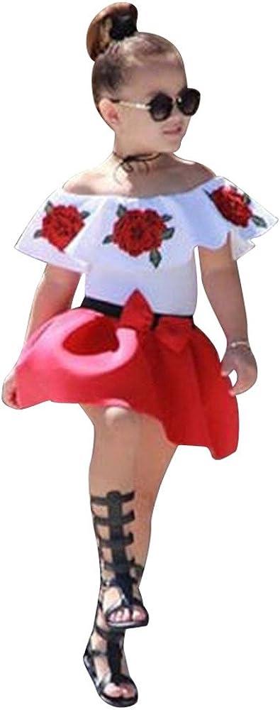 SSMENG 2PCS Toddler Baby Girls Skirts Set Summer Clothes Little Girls Off The Shoulder Ruffles Floral Tops+Red Princess Dress