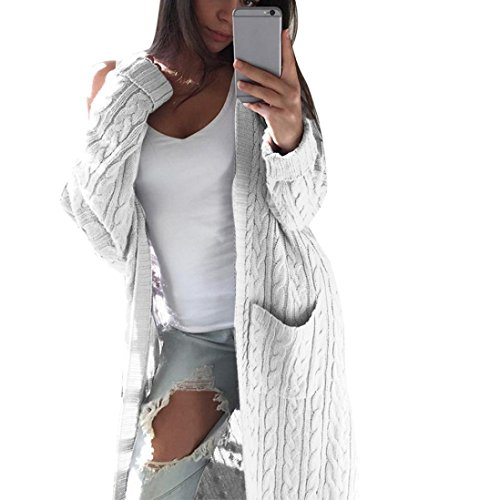 Vovotrade Women Bohemia Open Front Cardigan Ladies Long Sleeve Knitting Jacket Casual Coat Outwear with Pockets (White)