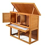LAZYMOON 36' Wooden Rabbit Bunny Hutch House Coop Poultry Cage Outdoor Run