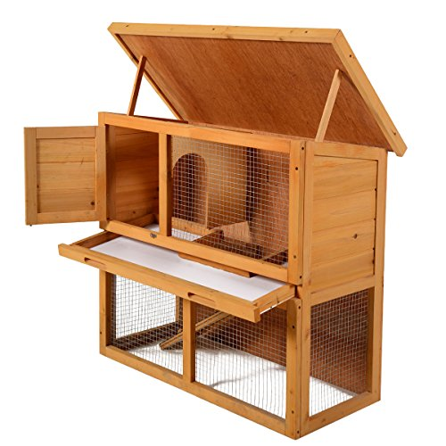 "51KAz8jAXyL - LAZYMOON 36"" Wooden Rabbit Bunny Hutch House Coop Poultry Cage Outdoor Run"
