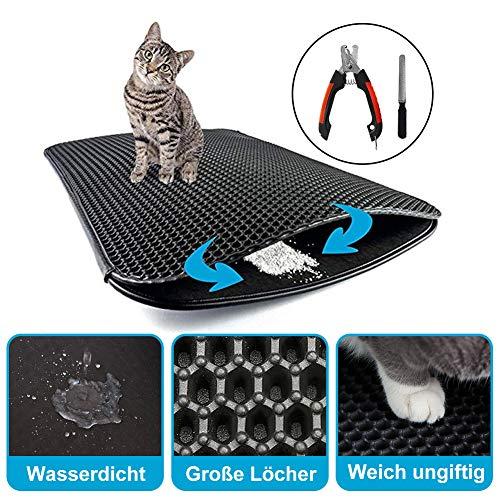 Wirezoll Katzenstreu Matte – wasserdichte Doppelte Seiten Katzenklo Unterlage mit Bienenwabendesign und 1 Krallenzange…