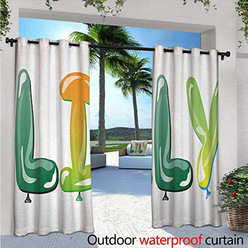 Lily Outdoor Privacy Curtain for Pergola W96 x L96 Colorful Popular Common English Girl Name Design with Balloons Party Festive Occasion Thermal Insulated Water Repellent Drape for Balcony Multicol