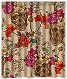 "Superhaliluya Skull and Flower Waterproof Bathroom Fabric Shower Curtain 60"" x 72"""