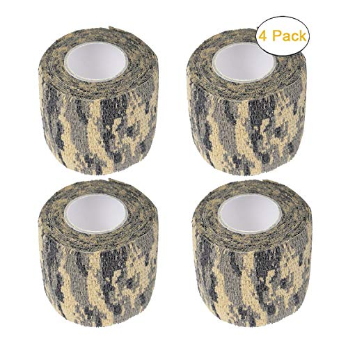 Wrap Military (Camo Gun Wrap Tape Rifle Shotgun Camouflage Form Wrap Military Army Hunting Self-Adhesive Protective Multi-Functional Bandage for Rifles,Flashlights,Scope,Knife,Bicycle)