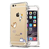iPhone 6S Case, Ultra Transparent Thin Slim Bumper Shockproof Cute Funny Case Clear with design Cat Animal protective Cover Girly for Apple iPhone 6 6S 4.7 inch