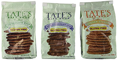 Tate's Bake Shop, Gluten Free Cookie Variety Pack, Inculding Chocolate Chip, Double Chocolate, & Ginger Zinger (Tate Olive)